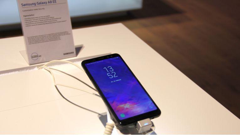 Premiere auf der Samsung-Roadshow in Köln: Das Galaxy A8 Enterprise Edition.
