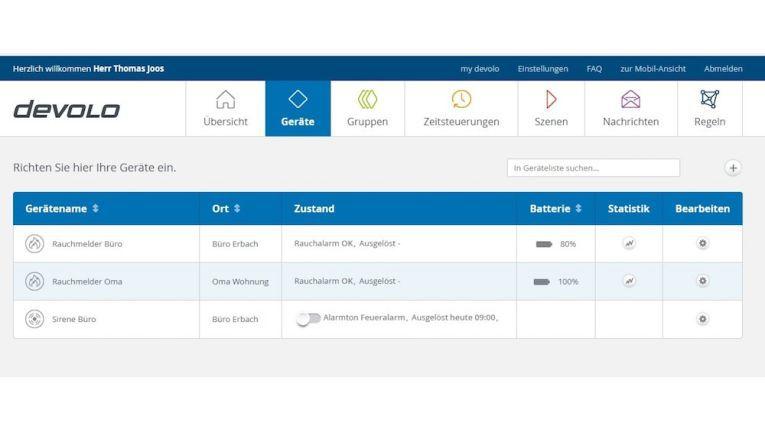 Devolo zeigt alle Smarthome-Geräte übersichtlich in der Weboberfläche an. Hier lassen sich auch weitere Geräte anschließen.