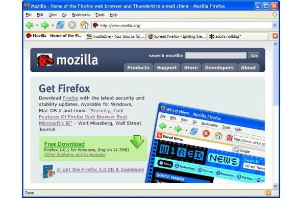 Firefox war ein Nebenprodukt der Mozilla Foundations Application Suite.