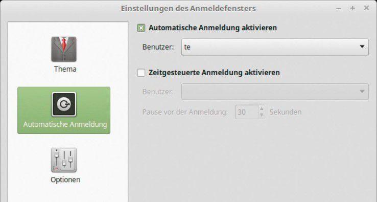 Bei Linux Mint aktivieren Sie nachträglich die automatische Anmeldung.