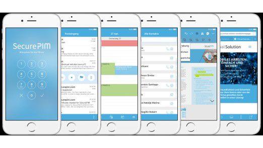 SecurePIM Office richtet auf dem Smartphone oder Tablet einen geschützten Bereich für sensible Geschäftsdaten ein.