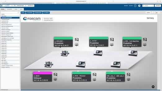 IT 4.0 visualisiert den Zustand jeder Maschine nutzerfreundlich im Hallenlayout - frei konfigurierbar für die individuellen Bedarfe eines Unternehmens