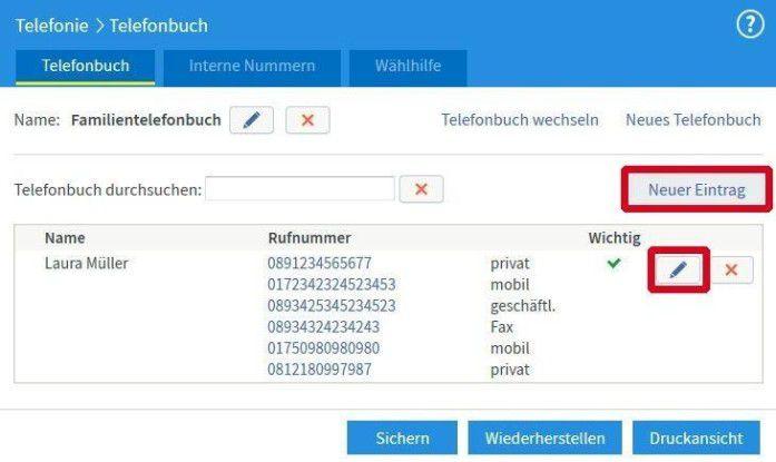 Neue Einträge im Telefonbuch.