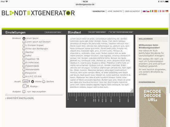 Blindtexte lassen sich schnell und einfach generieren mit einem Generator unter http://www.blindtextgenerator.de.