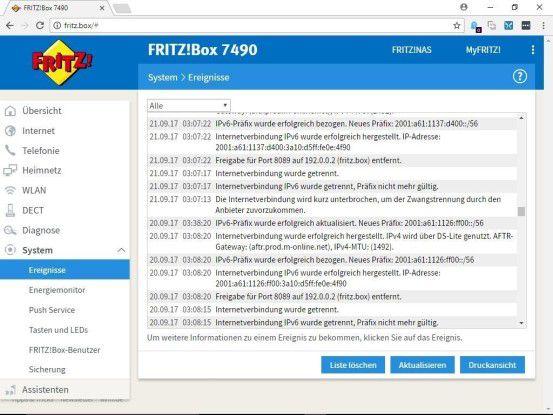 Die Fritzbox protokolliert alle wichtigen Ereignisse rund um die Box.