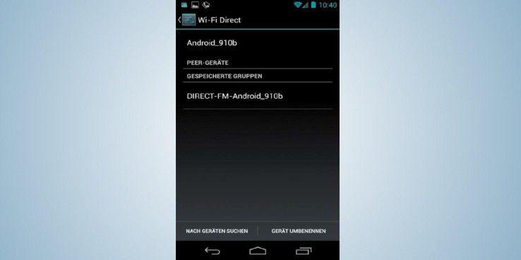 """Die Android-Funktion Wi-Fi Direct zeigt die verfügbaren Geräte in Ihrem Netzwerk an. Über """"Gerät umbenennen"""" geben Sie ihnen einen aussagekräftigen Namen."""