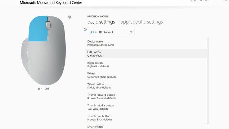 """Microsofts """"Maus- und Tastatur-Center"""" bietet vielfältige Konfigurationsmöglichkeiten und ist Besitzern der Surface Precision Mouse ans Herz zu legen."""
