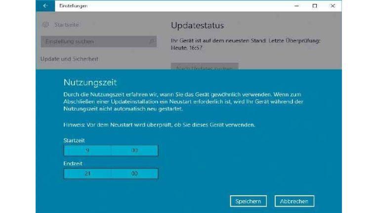 Hier können Sie einen Zeitraum definieren, in dem Ihr PC beim Windows-Update nicht neu startet.