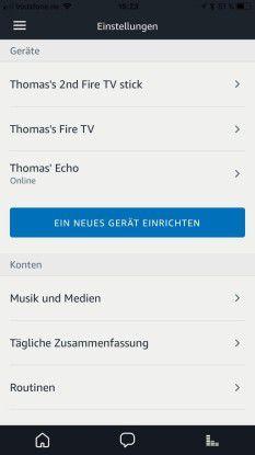 Mit der Alex App können Sie die Amazon Echo-Geräte im Haushalt, aber auch Amazon Fire-Geräte miteinander verknüpfen und steuern.