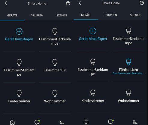 """Die Amazon-Alexa-App: Links ist die Hue-Leuchte in Nähe der Esszimmer-Tür bereits fertig eingerichtet, auf dem rechten Screenshot dagegen wartet sie noch auf ihre Einrichtung. Sie heißt dort noch """"Fünfte Licht""""."""
