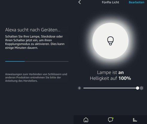 Der linke Screenshot zeigt den Suchlauf nach vorhandenen Zigbee-kompatiblen Geräten, der rechte zeigt das Bedienmenü für eine weiße Hue-Leuchte.