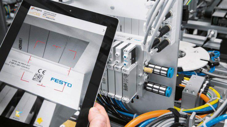 Tablet-Computer in der Instandhaltung bei Festo.