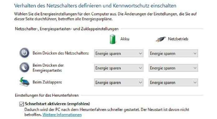 """Damit die Installation von Linux nicht schiefgeht, schalten Sie vorher den """"Schnellstart"""" aus."""