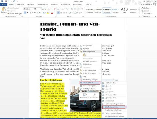 Verfügbare Grafikoptionen, darunter auch Textfluss.