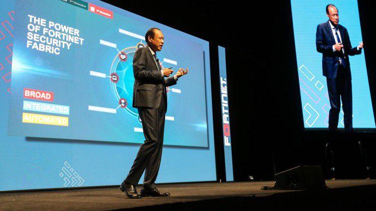 Fortinet-CEO Ken Xie während seines Vortrags auf der Kunden- und Partnerveranstaltung Accelerate 2018 in Las Vegas.
