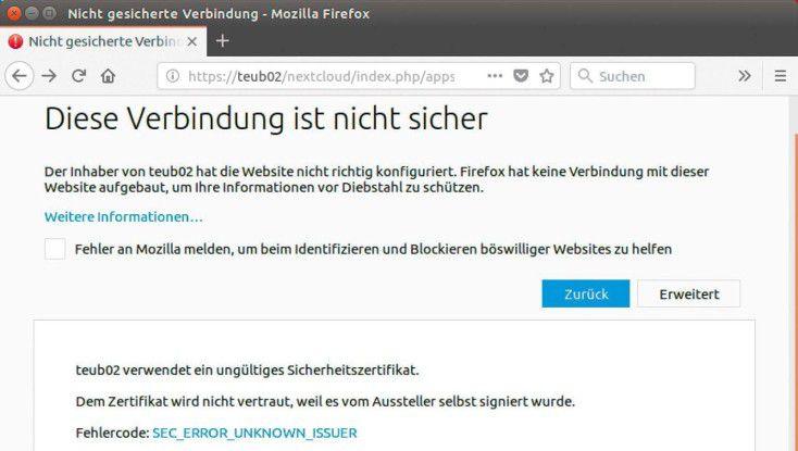 Bei selbst signierten SSL-Zertifikaten blockiert Firefox den Zugriff.