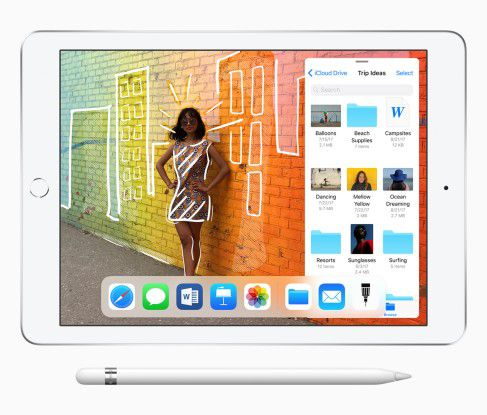 Das neue iPad mit 9,7 Zoll Bildschirmdiagonale und Pencil(-Unterstützung).