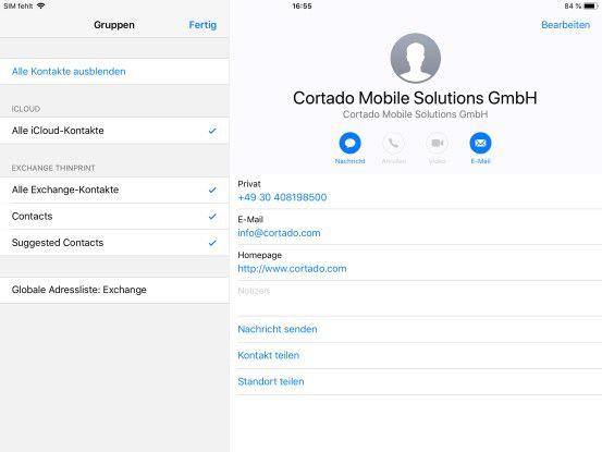Kontaktbuch bei direktem Zugriff mit der Kontakte-App