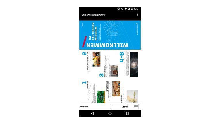 """Fortschritt im Mobildruck: Sowohl per Wi-Fi Direct als auch über NFC steuern Sie den Druck über die App """"Canon Print"""". Welchen Weg Sie gerade nutzen, sehen Sie unten rechts neben """"Druck"""". Im Bild ist es NFC."""