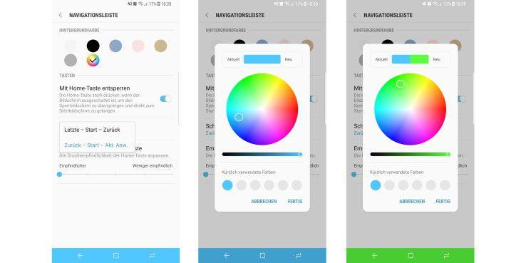 Farbe der Navigationsleiste sowie die Anordnung der Tasten ändern