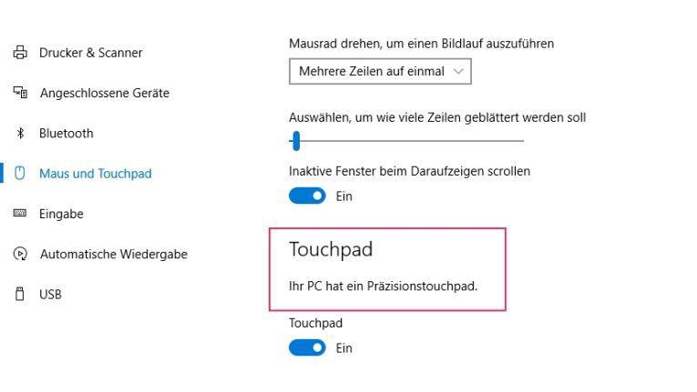 Wenn Ihr Notebook ein Präzisions-Touchpad besitzt, können Sie spezielle Gesten für Windows 10 nutzen.