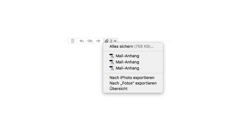Das Symbol für das Speichern der Anhänge erscheint erst, wenn man den Mauszeiger auf die Trennlinie zwischen E-Mail-Text und Briefkopf bewegt.