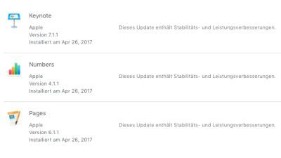 iWork-Programme: Update für Apples iWork-Apps Keynote, Pages und Numbers