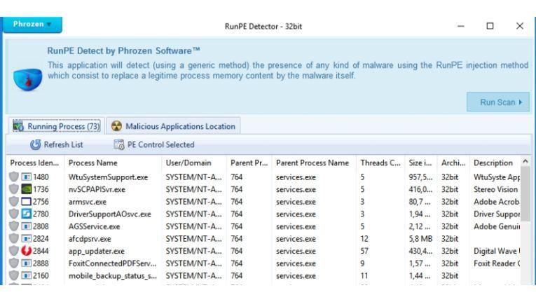 Die Freeware Run PE Detector spürt feindlichen Code auf, der sich in legitime Windows-Prozesse injiziert hat. Das ist typisch für Remote Administration Tools (RATs).