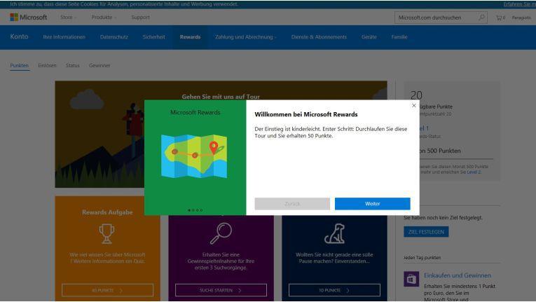 Im Microsoft Rewards Dashboard winken bereits nach der Anmeldung die ersten Punkte.