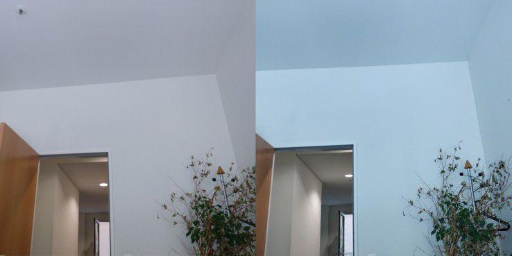 Im Vergleich direkten Vergleich zwischen Frontkamera (links) und Hauptkamera (rechts) erkennen Sie den starken Blaustich.
