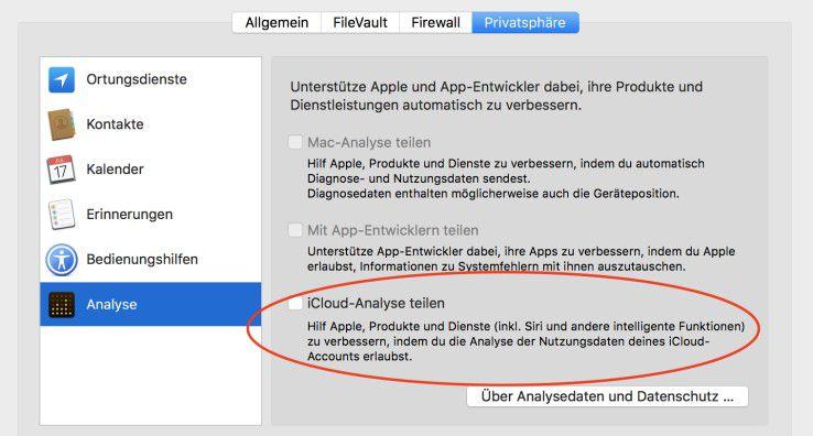 Nur mit ausdrücklicher Zustimmung erhält Apple Nutzungsdaten, obwohl diese per Differential Privacy anonymisiert sind.