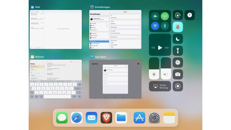 Von macOS bekannt, und mit dem Kontrollzentrum an der Seite angereichert ist die neue Mutlitasking-Ansicht unter iOS 11.