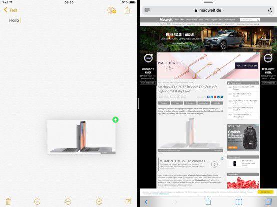 Mit iOS 11 lassen sich in der geteilten Ansicht Links, Bilder und Texte von der einen in die andere Anwendung ziehen.
