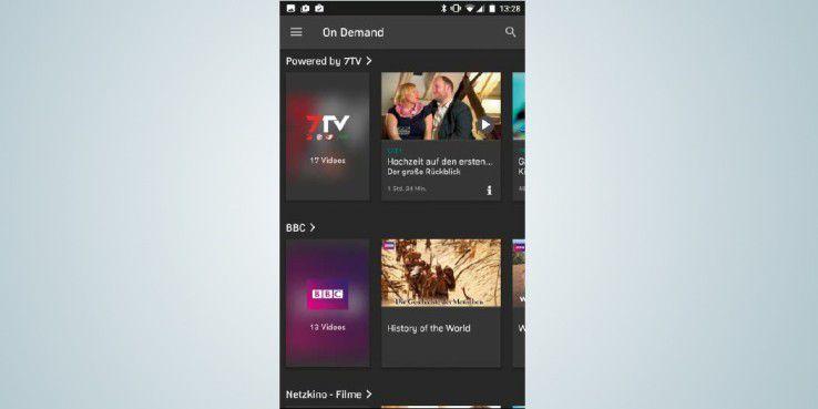 """Auch ein Video-on-Demand- Bereich steht in der kostenlosen Variante der """"Zattoo""""- Applikation zur Verfügung."""