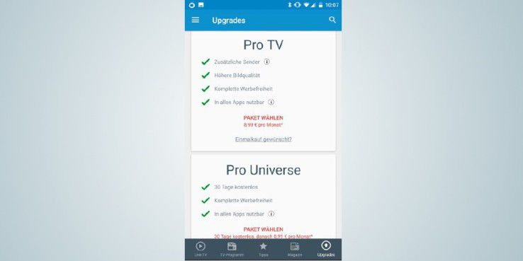 """Auch bei """"TV App Live – Fernsehen TV.de"""" können Sie mit einem Abo weitere Sender freischalten und die Werbeeinblendungen unterdrücken."""