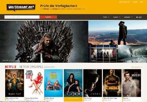 Die Internetseite www.werstreamt.es informiert Sie darüber, welches Streamingportal Ihre Lieblingsserie gerade anbietet.