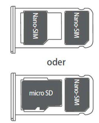 Um die SIM- beziehungsweise die Micro-SD-Karte korrekt einzulegen, werfen Sie am besten einen Blick ins Handbuch (im Bild: Abbildung aus dem Handbuch des Honor 6X).