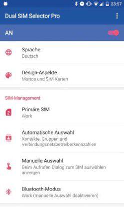 """Wem die Optionen im SIM-Konfigurationsmenü seines Smartphones nicht genügen, der kann eine App wie den """"Dual-SIM Selector"""" für 2,99 Euro verwenden."""