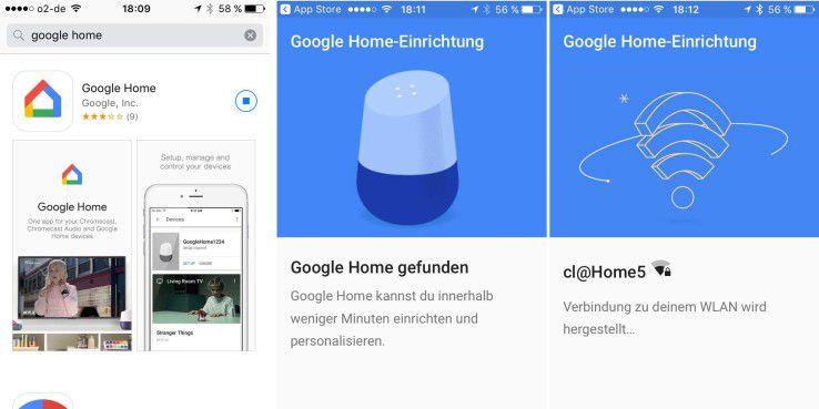 Schritt für Schritt für die Google-Home-App den Nutzer durch die Erstkonfiguration des Sprachassistenten