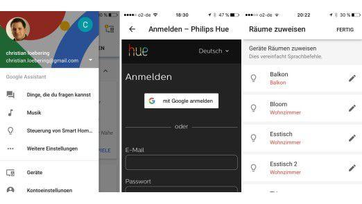 Smart-Home-Geräte können in der Google-Home-App einfach über das Sandwich-Menü oben links konfiguriert werden