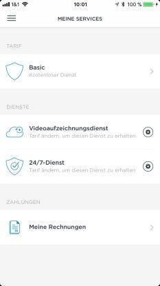 Mit einem Abo, das es monatlich ab 4,99 Euro gibt, lassen sich Videoaufzeichnungen eines Tages in einer eignen Cloud von Somfy speichern. In der kostenlsoen Version beschränklt dies sich auf 10 Sekunden.