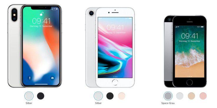 iPhone X, iPhone 8 und iPhone SE