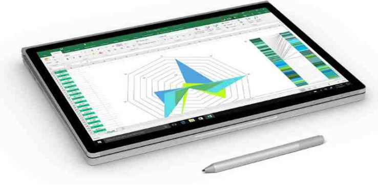 Das Surface Book 2 mit zurückgeklappter Tastatur im Tablet-Modus