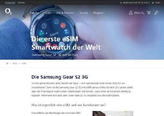 Die erste Smartwatch auf dem deutschen Markt mit integrierter eSIM war die Samsung Gear S2.