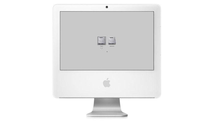 Sehr karg: Das Bootmenu nach der Installation von Windows XP auf Intel-Mac. (Quelle: Apple)