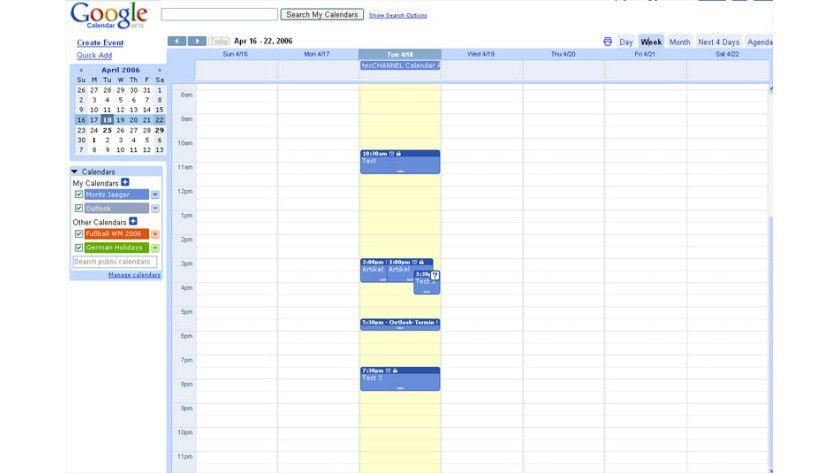 Termine geplant: Google Calendar ist ein webbasierter Kalender, der unter anderem eine iCal-Unterstützung bietet.