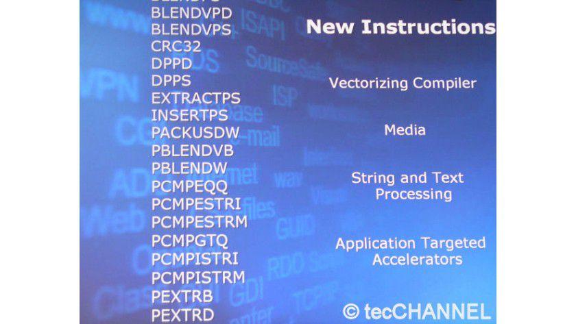 SSE4: Die über 50 neuen Befehle sollen bei den ersten 45-nm-Prozessoren in der zweiten Jahreshälfte 2007 zusätzlich für Performance sorgen.