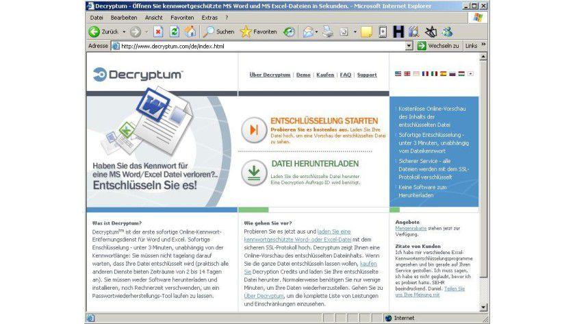 Der Internetdienst Decryptum knackt Word- und Excel-Kennwörter binnen drei Minuten. Abb.: Decryptum