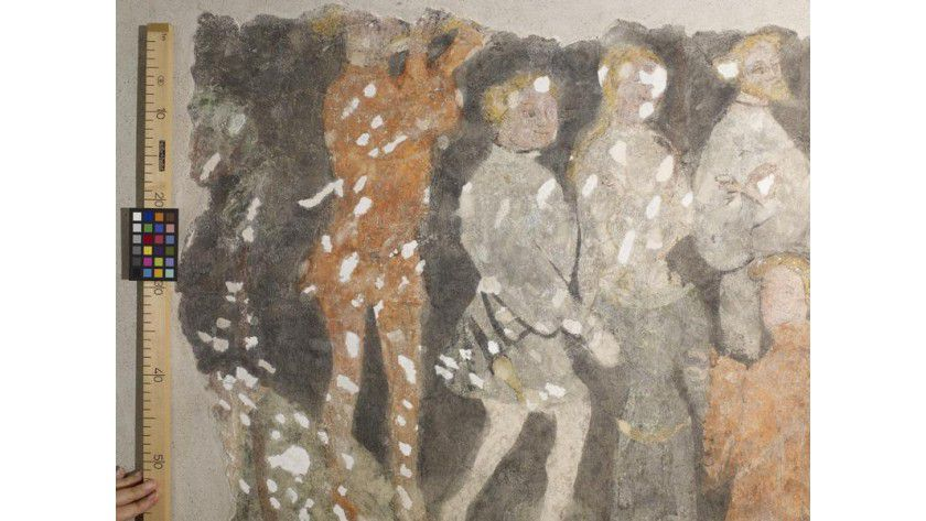 Neidhard-Fresko aus dem Jahr 1398, Haus Tuchlauben 19 in Wien. Foto: Peter Markowich