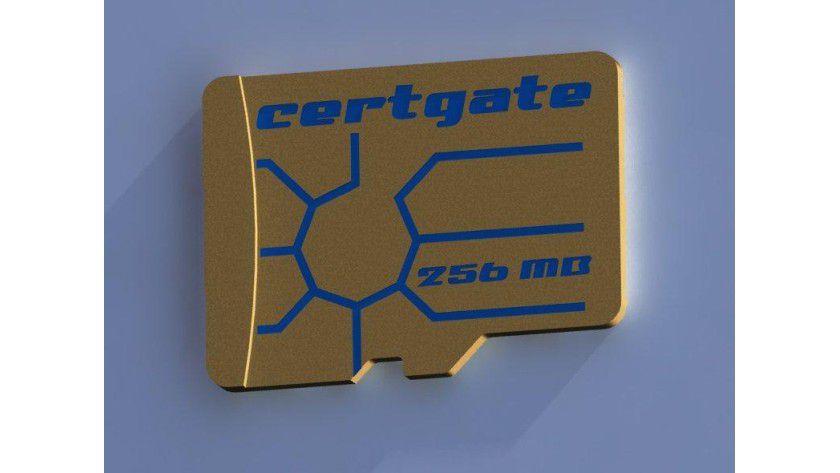 Die certgate SmartCard microSD speichert 256 MB an Daten. Foto: IICS